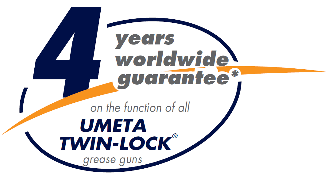 UMETA offer a 4 year guarantee on the function of all twin lock grease guns