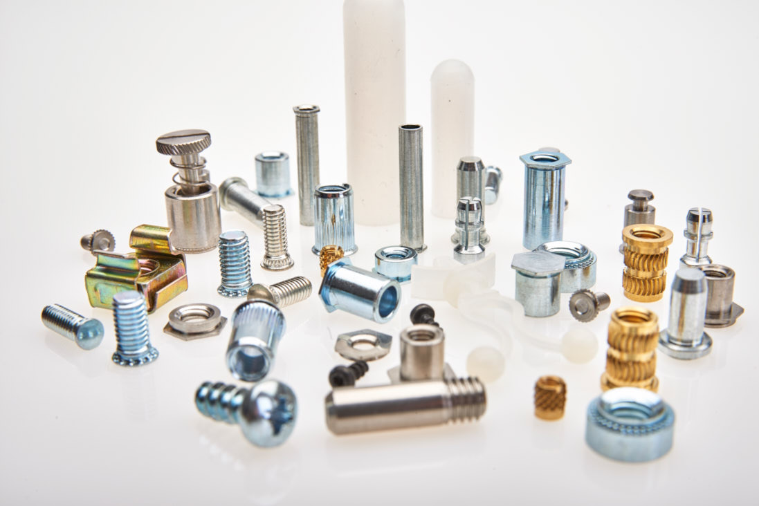 A selection of industrial fasteners and parts